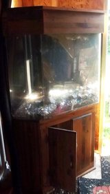 55gal corner fish tank w/custom wood  stand and hood. in Tacoma, Washington